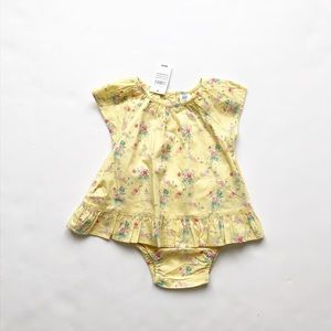 Babygap NWT yellow floral tulip back set 12-18m